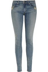 Rag And Bone The Skinny Distressed Mid Rise Jeans Blue