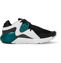 Y 3 Qr Run Leather Trimmed Neoprene Sneakers Black
