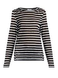 Frame Striped Linen T Shirt Black White