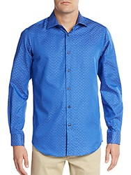 Report Collection Dobby Square Cotton Sport Shirt Blue