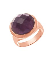 Lord And Taylor Amethyst And 18K Rose Gold Cocktail Ring Purple