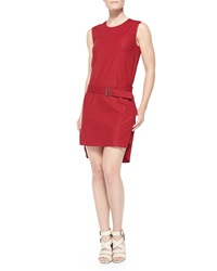 Belstaff Belted Drop Waist High Low Dress Red