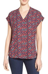 Pleione Women's High Low V Neck Mixed Media Top Navy Red Daisy