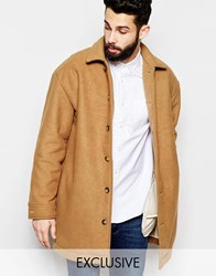 Reclaimed Vintage Suedette Cocoon Coat With Borg Lining Tan