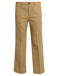Miu Miu Checked Mid Rise Flared Leg Wool Trousers Yellow Multi