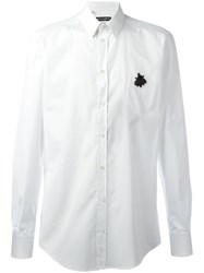 Dolce And Gabbana Embroidered Bee Shirt White