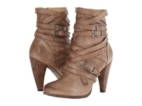 Frye Mikaela Strappy Grey Smooth Vintage Leather Cowboy Boots Beige