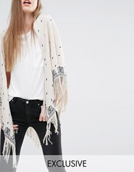 Becksondergaard Exclusive Oversized Scarf With Floral Embroidery And Tassels Cream