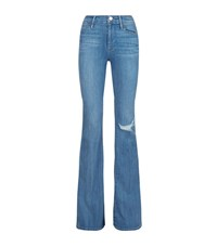Frame Le High Ripped Flare Jeans Female Blue