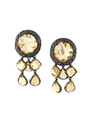 Yves Saint Laurent Vintage Dangling Rock Clip On Earrings Black