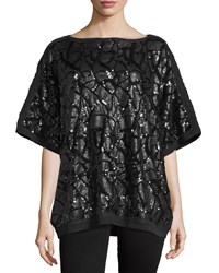 Misook Liza Sequined Dolman Sleeve Tunic Black