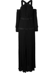 Alessandra Rich Pleated Bow Evening Dress Black