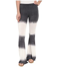 Culture Phit Elsie Tie Dye Bell Bottom Pants Charcoal Ivory Women's Casual Pants Black