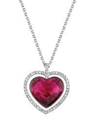 Swarovski Ballet Heart Pendant Necklace Silver Red