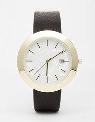 Asos Premium Leather Watch With Mother Of Pearl Effect Face Black