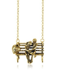 Alcozer And J Gold Plated Brass Bench With Lovers Long Necklace