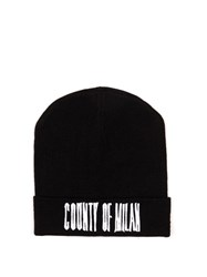 Marcelo Burlon Sajama Wool Beanie Hat Black White