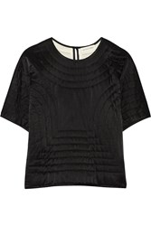 Etoile Isabel Marant Landers Quilted Cotton And Silk Blend Top Black