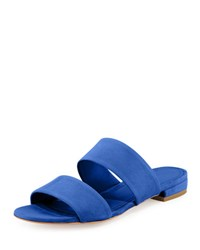 Mansur Gavriel Suede Two Band Flat Slide Sandal Royal