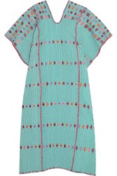 Pippa Holt Embroidered Striped Cotton Kaftan Green
