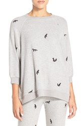 All Things Fabulous Women's Fox Print Sweatshirt Heather Gray