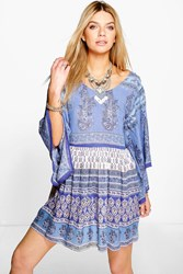 Boohoo Paisley Batwing Smock Dress Blue