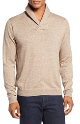 Nordstrom Men's Big And Tall Men's Shop Cotton And Cashmere Shawl Collar Sweater Tan Kelp Jaspe