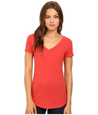 Lamade V Pocket Tee Tissue Jersey Geranium Red Women's Short Sleeve Pullover
