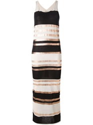 Laneus Striped Long Knitted Dress Black