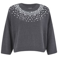 Michael Michael Kors Women's Embellished Neck Cropped Sweatshirt Grey