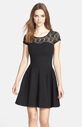 Felicity U0026 Coco Lace Yoke Fit And Flare Ponte Dress Nordstrom Exclusive Black