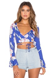 Minkpink By The River Wrap Top Blue