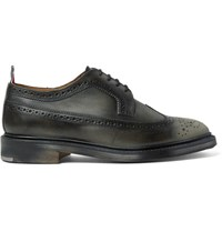 Thom Browne Distressed Leather Longwing Brogues Black