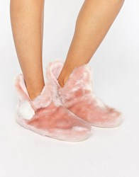 New Look Faux Fur Pom Slipper Boot Pink