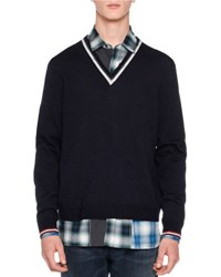 Lanvin Open Stitch Striped V Neck Sweater Navy