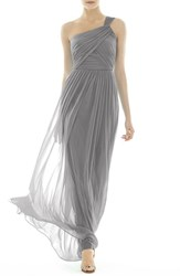 Women's Alfred Sung One Shoulder Shirred Chiffon Gown Quarry
