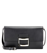 Roger Vivier Viv' East West Mini Leather Shoulder Bag Black