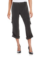 H Halston Cropped Cargo Pants Dark Grey