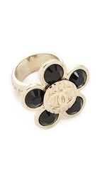 Wgaca Chanel Crystal Flower Ring Previously Owned Gold Black