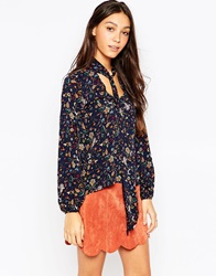 Influence Pussybow Blouse Navy