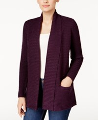 Karen Scott Marled Open Front Cardigan Only At Macy's Purple Dynasty Marl