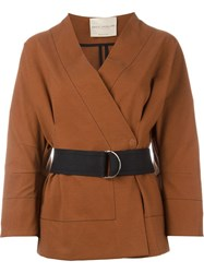 Erika Cavallini Belted Wrap Jacket Brown