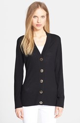 Women's Tory Burch 'Simone' Merino Cardigan Black