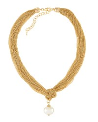 Emily And Ashley Multi Strand Pearl Pendant Necklace Gold