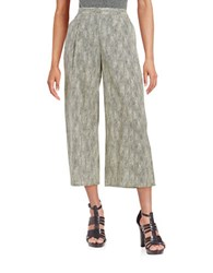 Eileen Fisher Plus Pleated Patterned Pants Grey