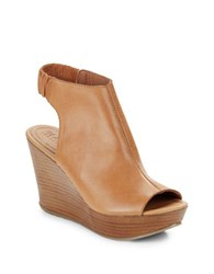 Kenneth Cole Reaction Sole Chic Leather Slingback Wedge Sandals Butterscotch