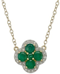 Macy's Emerald 2 Ct. T.W. And Diamond 1 8 Ct. T.W. Clover Pendant Necklace In 14K Gold Green