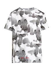 Off White Architectural Camouflage Print Cotton T Shirt Grey Multi