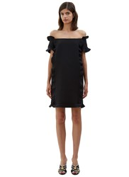 Fendi Ruffled Off The Shoulder Mini Dress Navy