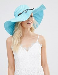 7X Summer Straw Floppy Hat Cerulean Blue